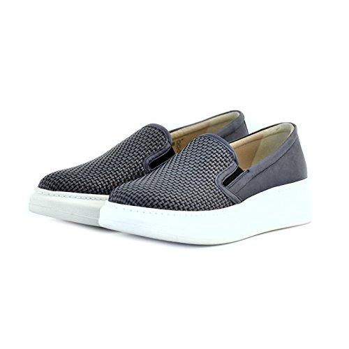 scarpe donna slipon Soldini pelle intreccio blu 39