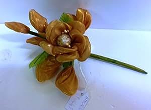 Confezione 10 pezzi, Bomboniera fiore bouquet + racchettine portaconfetti, segnaposto (amor588)