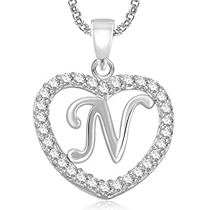 Meenaz silver plated n letter pendants alphabet pendant with chain for menwomenkids in ameriacan diamond cz jewellery meenaz silver plated n letter pendants alphabet pendant with chain for menwomen aloadofball Image collections