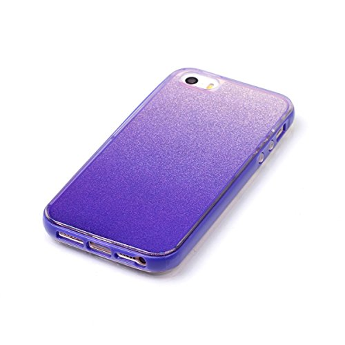 iPhone 5S Coque,iPhone SE Silicone Coque,iPhone 5 Housse - Felfy Glitter Etui Housse Placage Coque en Silicone Ultra-Mince Etui Soft Housse Plating Case Slim Gel Cover, Felfy Etui de Protection Cas Ul Miroir Violet