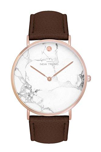New Trend Unisex Armbanduhr Damen-Uhr Herren-Uhr, Analog Display, Quarzwerk, Leder-Armband, Chronograph-Optik, mit Dornschlie§e, Marmor-Muster