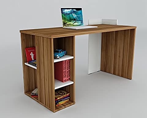 CORAL Bureau White / Chestnut - Computer Workstation - Home Office Desk - Writing Table (Ufficio Noce Scrivania)