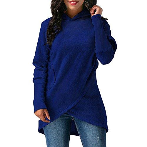 Hoodies Damenmode Asymmetrische Einfarbig Hoodie Langarm-Sweatshirt Casual Pocket S-5XL