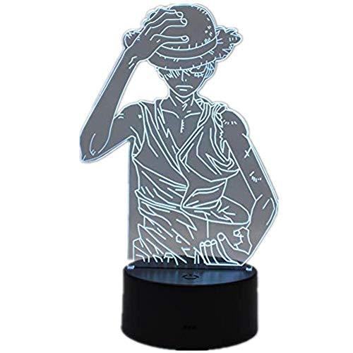 (Novelty lamp, Anime One Piece Affe D. Ruffy 3D Stereo Vision LED Büro Home Decoration Nachtlicht USB Touch/Fernbedienung 16 Farbe Kreatives Kind Schlaf Licht Modell Spielzeug Geschenk (One Piece Mon)
