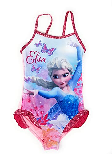 Die Eiskönigin - Frozen Mädchen Badeanzug Bademode (Pink, 5 Jahre (Größe 110))