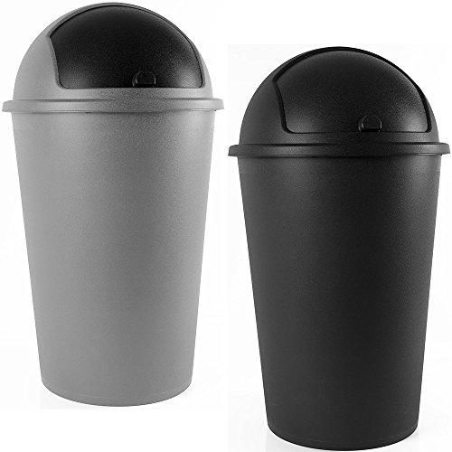 Abfalleimer 50L Push Can - mit Schiebedeckel schwarz thumbnail