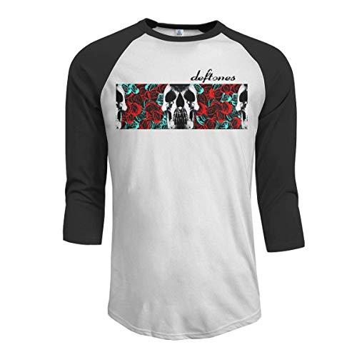 KDHRTI Herren Kurzarmshirt, Deftones Men's 3/4 Sleeve Raglan Baseball Tshirt Black - Ucla-t-shirt Jersey