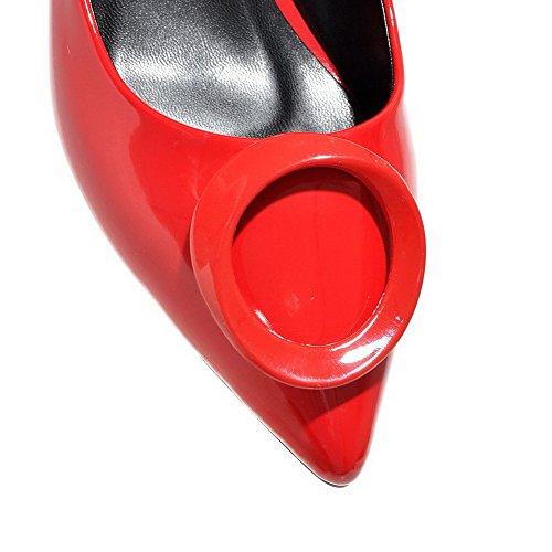 AllhqFashion Damen Lackleder Ziehen Auf Spitz Zehe Mittler Absatz Eingelegt Pumps Schuhe Rot