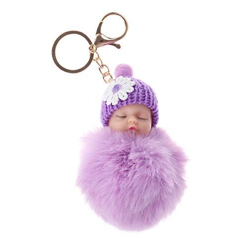 Vosarea Peluche Boule de Cheveux Porte-clé poupée bébé décorations pendentifs faveurs de fête de noël (Violet)