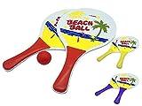 JustRean Toys Beach-Ball Set aus Holz   2 Schläger 1 Ball im Netz 33 x 19cm Griff blau rot o. gelb   Strand-Ball Strand-Spielzeug