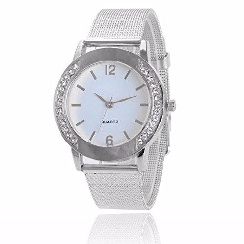 Valentinstag Uhren DELLIN Mode-Frauen-Kristallgoldener Edelstahl-analoge Quarz-Armbanduhr-Armband (Silber)