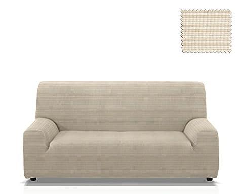 Housse de canapé élastique Vulcano, Taille 4 places (de 205 à 235 cm), Couleur Ivoire (plusieurs couleurs disponibles)