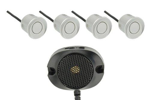 VSG R4S Einparkhilfe mit einem akustischen Signalgeber und inklusive 4 Sensoren in silber für hinten