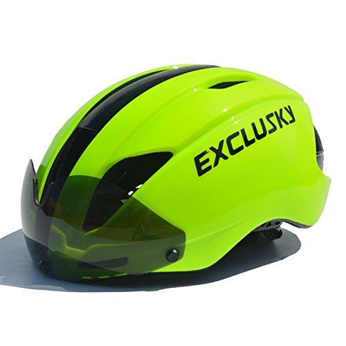 Exclusky In Mould Casco de Ciclismo para Adultos Bici Deportes con Gafas 57-61cm (Amarillo fluorescente)