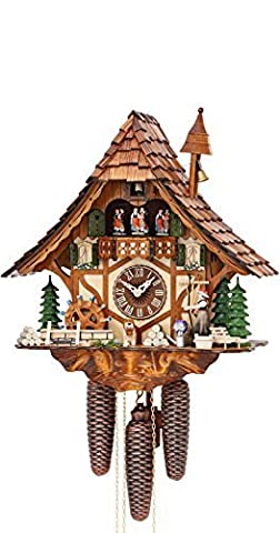 German Cuckoo Clock 8-day-movement Chalet-Style 16.00 inch - Authentic black forest cuckoo clock by Hekas by Kammerer Uhren Hekas