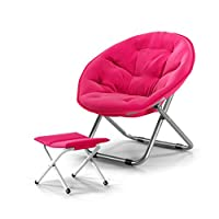 CAO-LIFE Round Chair Steel Folding Chair + Canvas Chair Lazy Armchair Strong Non-slip Chaise Longue/With Footrest/4 Colors (color : PINK)