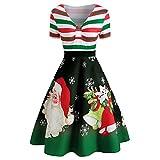 OIKAY Frauen Weihnachten Drucken Ärmellos Rundhals Party Panel Kleid Weihnachten Mode Damen Vintage Swing Kleider Weihnachtsmann Gestreifter Print V-Ausschnitt Kleid Rock(Schwarz,EU-42/2XL)