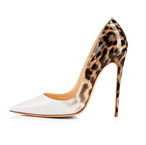 EDEFS - Chaussures - Escarpins Femmes - Talon Haut Aiguille - 120mm - Leopard - Fête Soiree Blanc