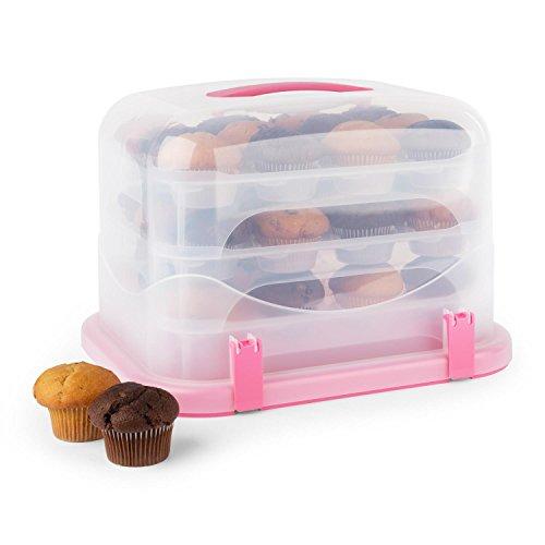 Klarstein Boîte de Transport gâteaux tartes Cupcakes Cloche XL 36 pièces - Rose