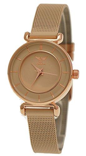 Elegante NY London Designer Damenuhr Damen Armband Uhr Beige Creme Rose Gold inkl. Uhrenbox