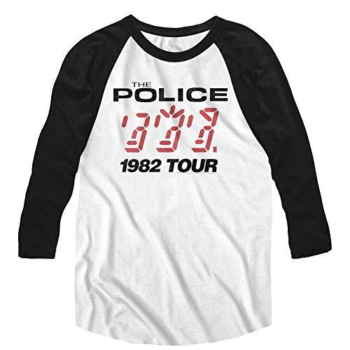The Police British Rock Band 1982 Tour - Camiseta de Manga 3/4 para Adulto Large