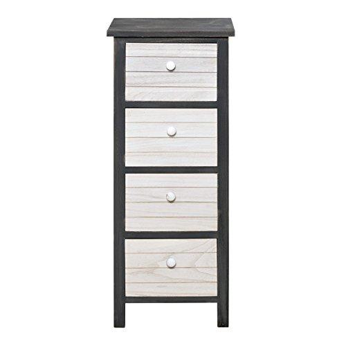 Rebecca mobili cassettiera comodino 4 cassetti legno paulownia bianco grigio vintage retro camera bagno salotto (cod. re4026)