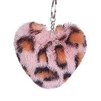 gohigher Cute Love Heart Fashion Pompom Pendant Leopard Print Key Chain Key Ring Holder Hanging Decor Gift 4#