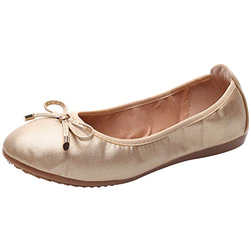 rismart Damen Tanzen Schlüpfen Wohnung Bowknot Elegant Weich Ballerinas Schuhe SN02829(Gold,EU38)