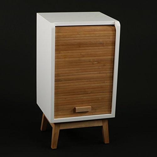 DECOMANIA - Meuble de Chevet Table de Nuit avec Porte coulissante - Esprit Classeur Rideau - Coloris Blanc et Bois