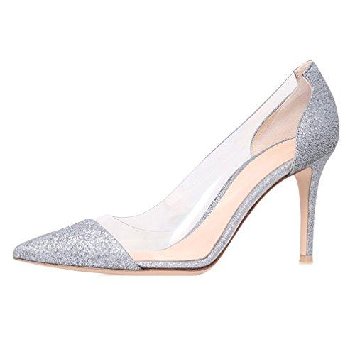 EDEFS Scarpe col Tacco Donna,Trasparente Scarpe,Cap-toe PVC Scarpe col Tacco Glitter
