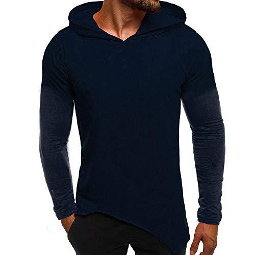 FIRSS Männer Einfarbig Sweatshirt Mit Kapuze Kapuzenpullover Asymmetrisch Pullover Training Hoodie Casual Slim Fit Oberteile - Double Breasted Knit Blazer