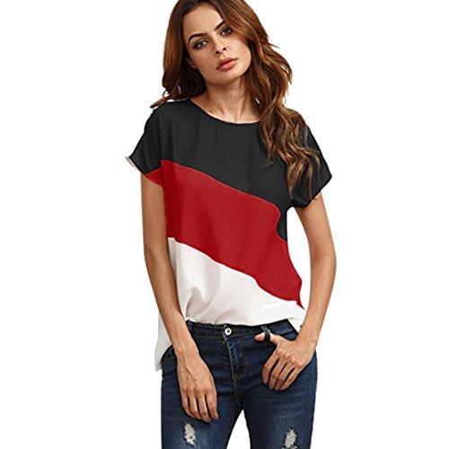 MRULIC Damen Kurzarm T-Shirt Rundhals Ausschnitt Lose Hemd Pullover Sweatshirt Oberteil Tops (XL, Rot2)