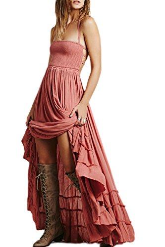 La Femme A Été Brûlé Swing Maxi - Longue Plage Robe Dos Nu pink
