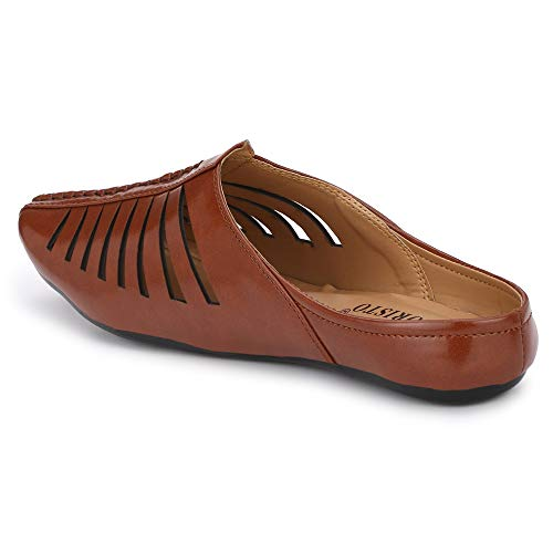 Flooristo Summer Latest Casual Mojaris/Juttis/Nagra Shoes for Men's (10uk/ind (Eu-44), Brown)