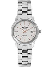 Rotary Women's Quartz Watch with White Dial Analogue Display and Silver Stainless Steel Bracelet LB02735/06