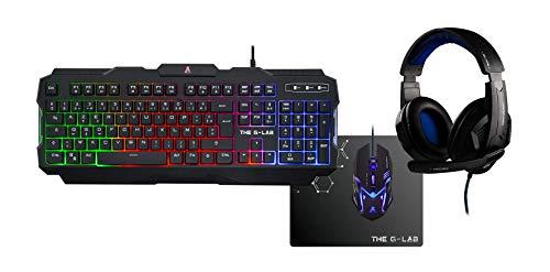 The G-Lab Combo Argon/SP - Pack Gaming (Teclado, Ratón Y Auriculares, Retroiluminado...
