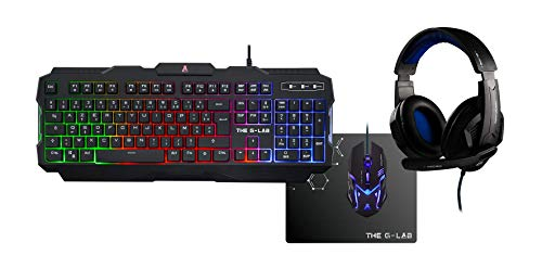 The G-Lab – Combo Argon - Pack Gaming - Teclado ES Retroiluminado...