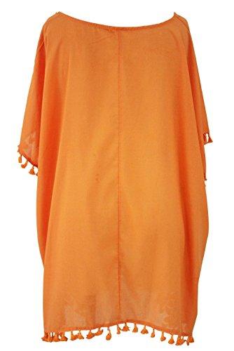 Lukis Damen Strandkleider Bikini Cover Up One-Size T-Shirt Oberteile Bluse Orange