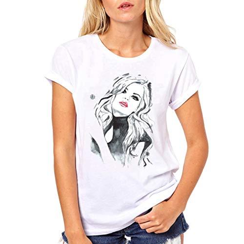 Fannyfuny T-Shirt Damen Kurzarm Tee Tops Frauen Rundhals Cartoon Mädchen Drucken Shortsleeve t-Shirt Blusen Casual Elegant Oberteil Mode Persönlichkeit T-Shirt Outdoor Slim Fit Fitness Tuniken S-XL - Frauen Raglan Tee