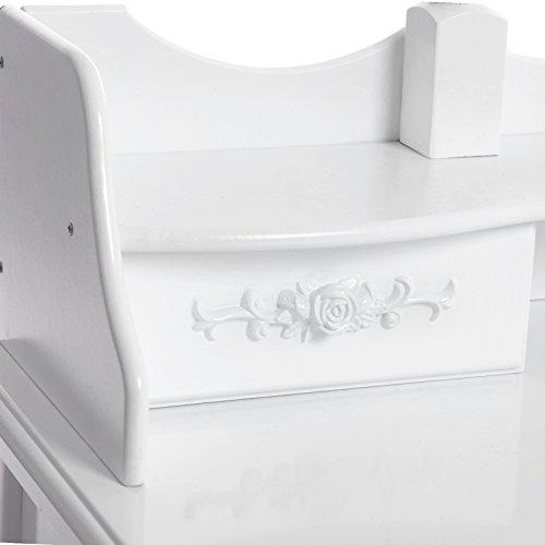 Songmics weiß luxuriös Kippsicherung Schminktisch mit 3 spiegel und hocker, 7 schubladen inkl. 2 Stück Unterteiler, Kippsicherung, 145 x 90 x 40 cm RDT91W - 9