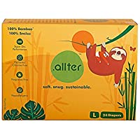 Allter Super Dry; Quick Absorb and Eco Friendly Organic Bamboo Diaper (White; Large) -24 Count