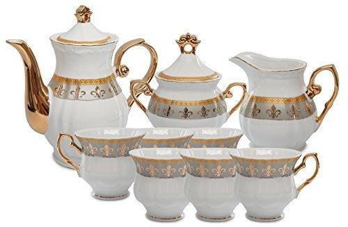Lys Royal en porcelaine 15 pièces ensemble à thé, Service Pour 6, vaisselle en porcelaine de Chine par Royal Plaqué Or 24 K en porcelaine