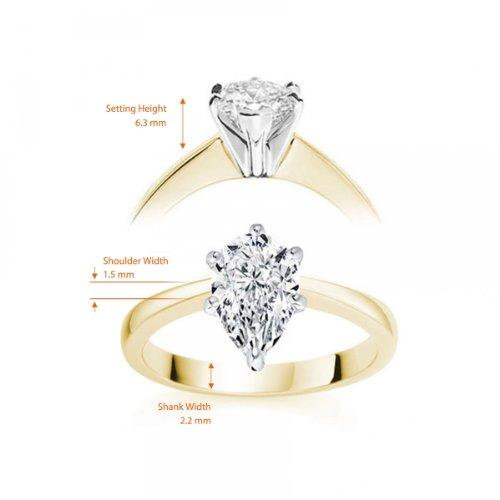 Diamond Manufacturers, Damen, Verlobungsring mit 0.25 Karat F/VVS1 feinem und zertifiziertem Tropfendiamant in 18k Gelbgold, Gr. 41 - 5