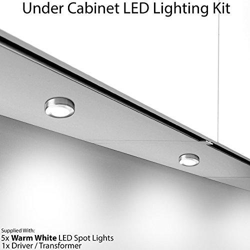 5x 2,6W LED Küche Schrank, runde Spot Beleuchtung & Treiber Kit Edelstahl-Finish–Warm Weiß–Abstandshalter Tiefe 16mm–Flush Down Einbaustrahler unter Schrank–Cablefinder