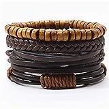 ZUOZUO Lederarmband Khaki Schwarze Perlen Armband Mehrschichtige Lederarmband Set Herrenarmband Damen Herrenschmuck Accessoires