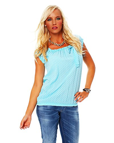 Moda Italy DB196 Carmenbluse Damen Bluse Oberteil Shirt Kurzarmshirt Baumwolle *Herzchen* (Hellblau)