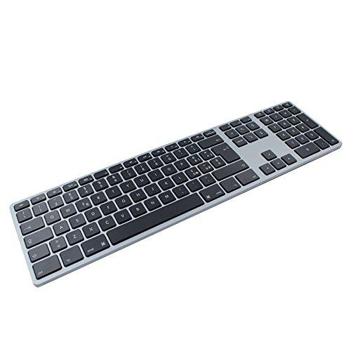 Matias-Tastiera (Layout ITA) Wireless Senza Fili in Alluminio Backlit Space Gray-Fino a 4 Dispositivi Bluetooth Associabili-Multi Device Retroilluminata e Seconda Batteria per la Retroilluminazione
