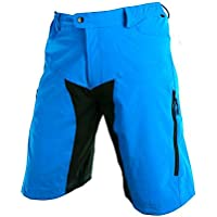 bzsport da uomo pantaloncini da ciclismo Outdoor sport pantaloni (giallo, blu), Uomo, Blue, (Dry Comfort Notte Pad)