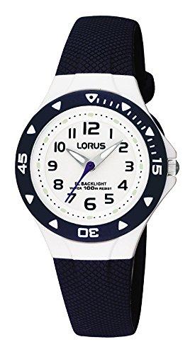 LORUS RRX43CX9 Kinderarmbanduhr Sports, Analog, ZB weiß,100m WR, PU-Band, blau