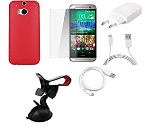 NIROSHA Tempered Glass Screen Guard Cover Case Charger USB Cable Mobile Holder for HTC Desire M8 - Combo